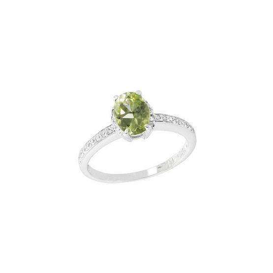 Trendy Diamond แหวนพลอยเพอริดอทสีเขียว รุ่น TSR156-PD ฟรี Trendy Diamond ต่างหูมุก