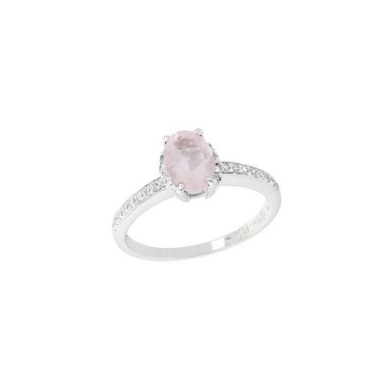 Trendy Diamond แหวนพลอยโรสควอตซ์สีชมพู รุ่น TSR156-RQ ฟรี Trendy Diamond ต่างหูมุก