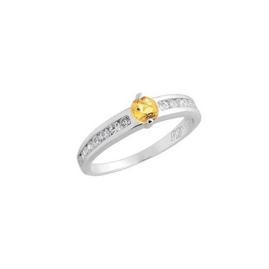 Trendy Diamond แหวนพลอยซิทรินสีเหลือง รุ่น TSR160-CT ฟรี Trendy Diamond ต่างหูมุก