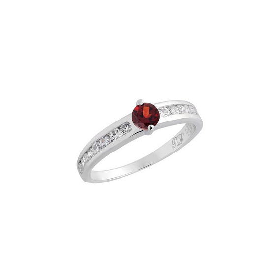 Trendy Diamond แหวนพลอยโกเมนสีแดงเข้ม รุ่น TSR160-GN ฟรี Trendy Diamond ต่างหูมุก