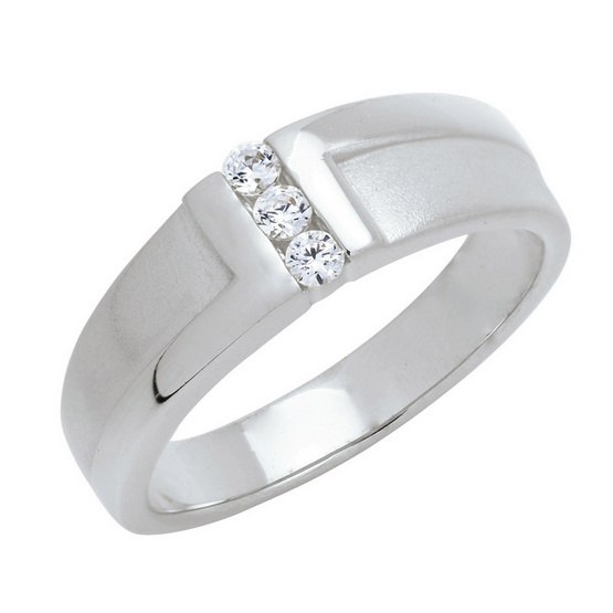 Trendy Diamond แหวน Z Ring หุ้มทองคำขาว Size 52