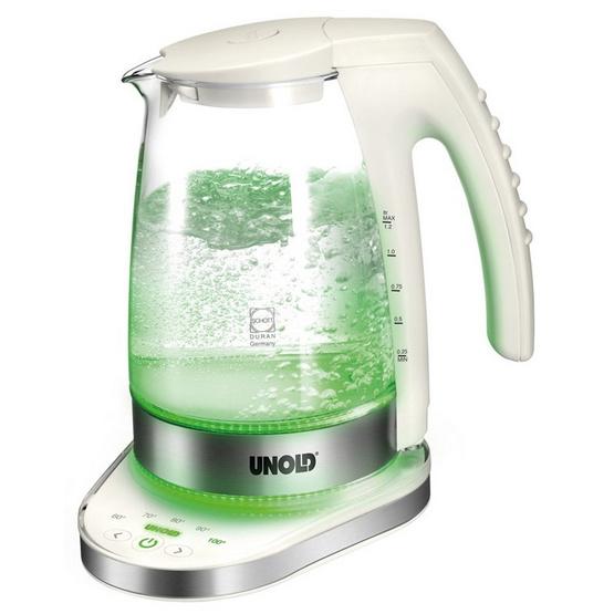 UNOLD กาต้มน้ำไร้สาย 1.2 ลิตร รุ่น 18580 (Glass/White/Stainless)