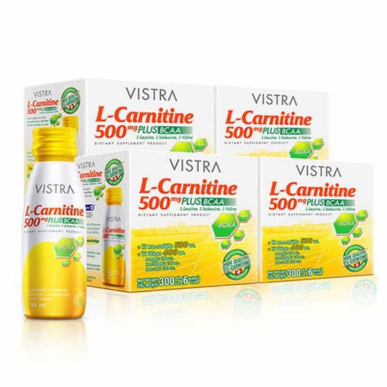 VISTRA L-Carnitine 500mg Plus BCAA  เเอล-คาร์นิทีน 500mg 4 แพ็ค 24 ขวด