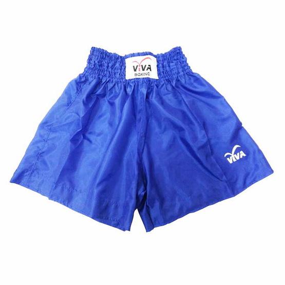 VIVA BOXING SHORTS กางเกงมวยสากลผ้าร่ม -สกรีน VIVA SIZE: L สีน้ำเงิน