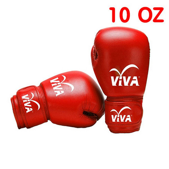 VIVA นวมมวยหนัง Micro Fiber 10 OZ. สีแดง