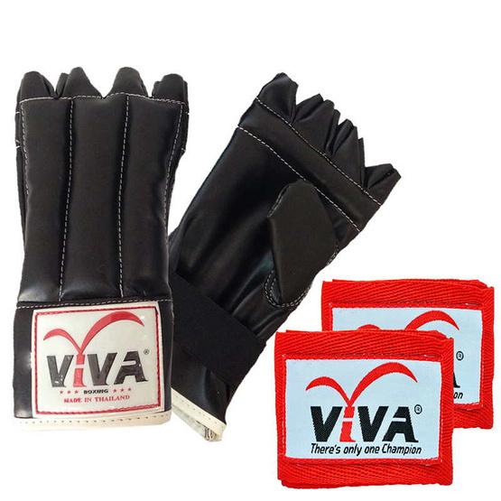 VIVA Set แบคชก PU นิ้วโผล่ 1 คู่ และผ้าพันมืออย่างดียาว 2.5 เมตร 1 คู่