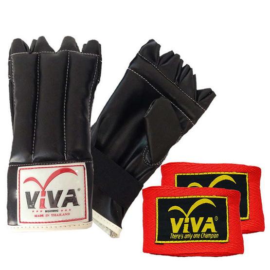 VIVA Set แบคชก PU นิ้วโผล่ 1 คู่ และผ้าพันมืออย่างดียาว 4 เมตร 1 คู่