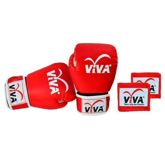 VIVA Set นวมมวยไทย / สากล หนังเทียม VELCRO 4 OZ. สีแดง และผ้าพันมืออย่างดียาว 2.5 เมตร 1 คู่