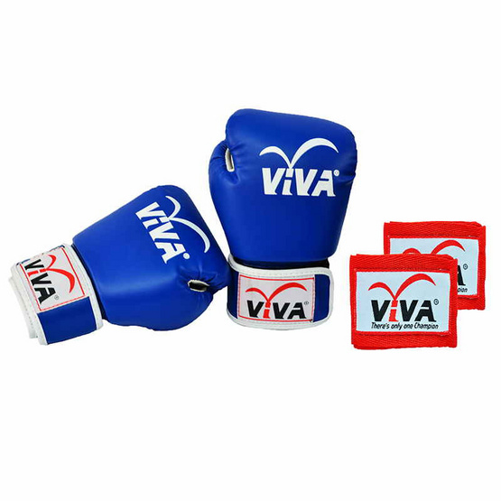 VIVA Set นวมมวยไทย / สากล หนังเทียม VELCRO 4 OZ. สีน้ำเงิน และผ้าพันมืออย่างดียาว 2.5 เมตร 1 คู่