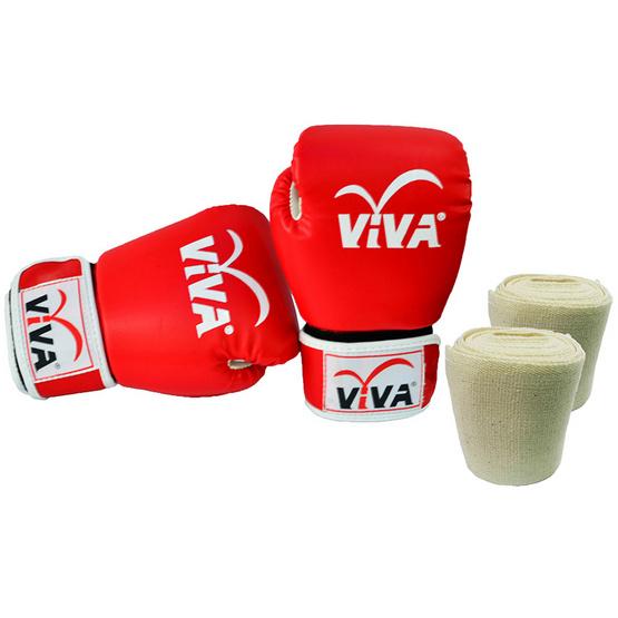 VIVA Set นวมมวยไทย / สากล หนังเทียม VELCRO 6 OZ. สีแดง และผ้าพันมือธรรมดา 1 คู่