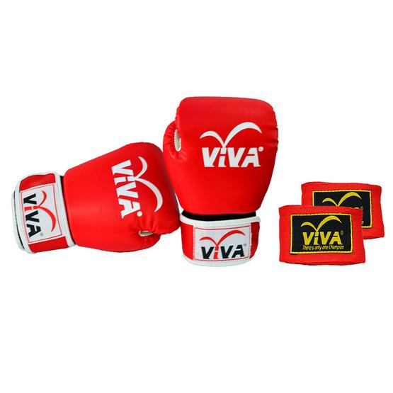 VIVA Set นวมมวยไทย / สากล หนังเทียม VELCRO 6 OZ. สีแดง และผ้าพันมืออย่างดียาว 4 เมตร 1 คู่