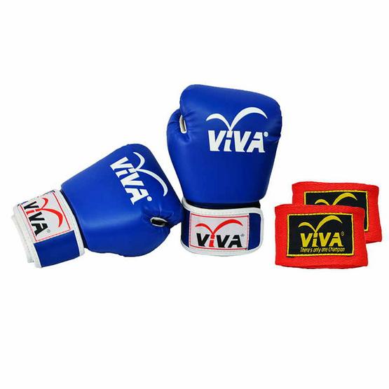 VIVA Set นวมมวยไทย / สากล หนังเทียม VELCRO 6 OZ. สีน้ำเงิน และผ้าพันมืออย่างดียาว 4 เมตร 1 คู่