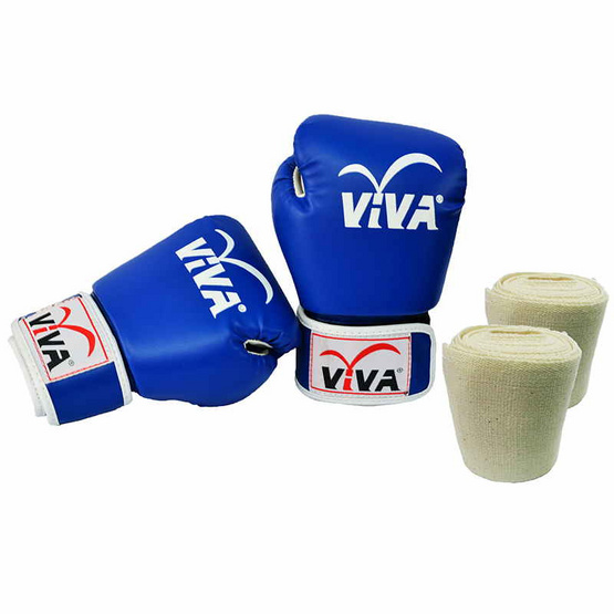VIVA Set นวมมวยไทย / สากล หนังเทียม VELCRO 8 OZ. สีน้ำเงิน และผ้าพันมือธรรมดา 1 คู่