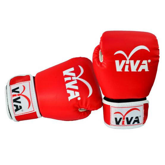 VIVA นวมมวยไทย / สากล หนังเทียม VELCRO 10 OZ. สีแดง