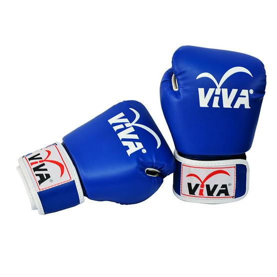 VIVA นวมมวยไทย / สากล หนังเทียม VELCRO 8 OZ. สีน้ำเงิน