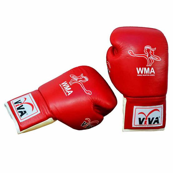 VIVA นวมมวยหนังแท้ ชนิดผูกเชือก (WMA) 6 OZ. สีแดง