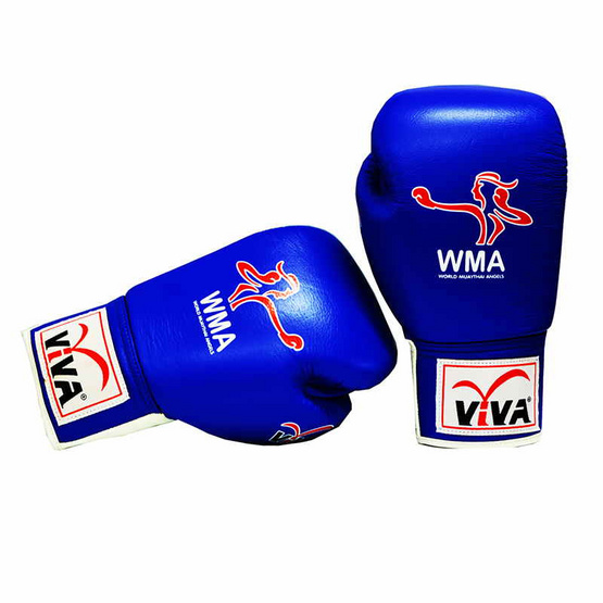 VIVA นวมมวยหนังแท้ ชนิดผูกเชือก (WMA) 6 OZ. สีน้ำเงิน