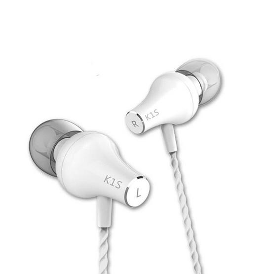 VJJB หูฟัง รุ่น In-ear (K1S) มีไมค์ ปุ่มรับสายในตัว บอดี้เหล็กสายเกรียวเบสสนั่น White