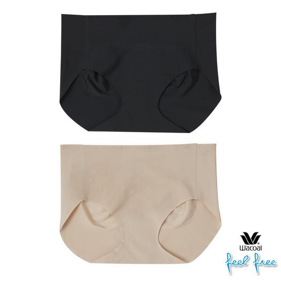 Wacoal เซ็ทกางเกงในอนามัย (2 ชิ้น) รูปแบบ Free Cut ใส่แล้วขอบไม่ม้วน รุ่น WU3966 สีดำ-สีเนื้อ