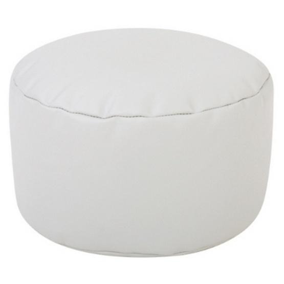 เก้าอี้บีนแบคทรงกระบอก หนังเทียมสีขาว
