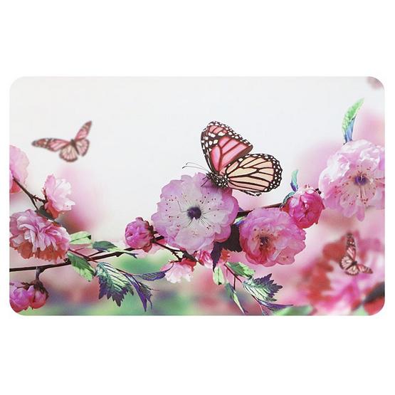 แผ่นรองจานลายดอกไม้ชมพู ชุด 6 ชิ้น /TB118-34