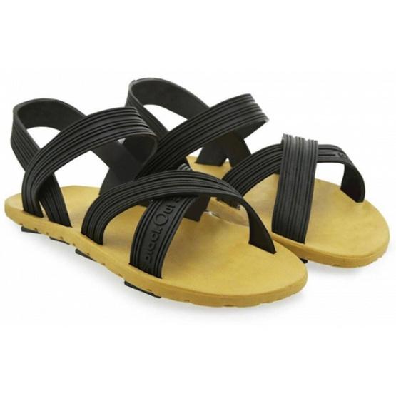 รองเท้า BlackOut หูหนีบ พื้นน้ำตาล หูดำ 35
