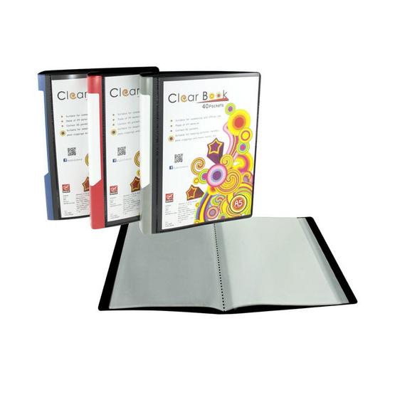 แฟ้มสอดปก CLEAR BOOK 40 ไส้ A5 Robin No.A540 คละสี (แพ็ค6ชิ้น)