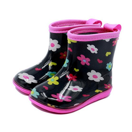 รองเท้าบู๊ทเด็ก Kid Foret ดำดอกไม้