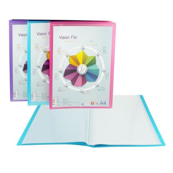 แฟ้มสอดปก Vision File 40 ไส้ A4 No.4117 คละสี (แพ็ค6ชิ้น)