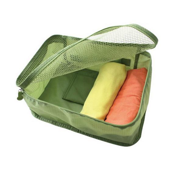 bags in bag กระเป๋าผ้าตาข่าย จัดระเบียบในกระเป๋าเดินทาง สีเขียว ไซส์ S
