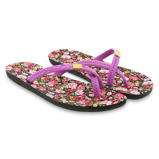 blackOut รองเท้าแตะ รุ่น BO-1006 สีชมพูลายดอกไม้ หูสีม่วง