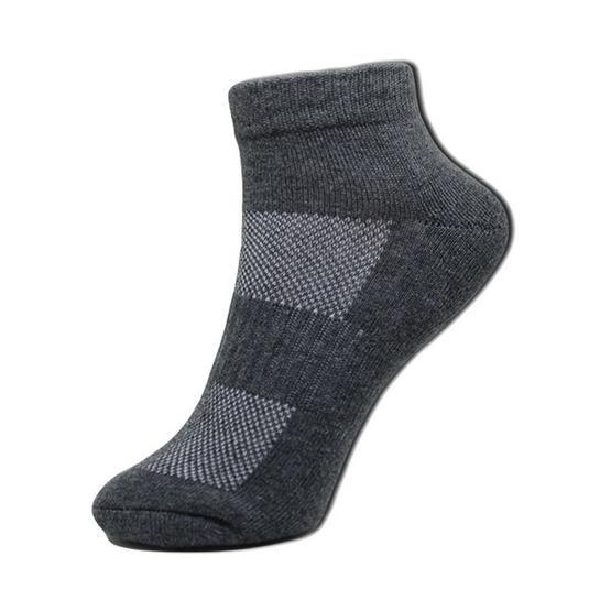 esocks ถุงเท้าข้อสั้นสีเทาเข้ม(เสริมพื้นหนาพิเศษ) รุ่น e011 freesize สีเทาเข้ม (6คู่/เซ็ท)