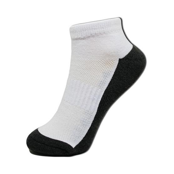 esocks ถุงเท้าข้อสั้นสีขาวพื้นเทา(เสริมพื้นหนาพิเศษ) รุ่น e013 freesize สีขาวพื้นเทา (6คู่/เซ็ท)