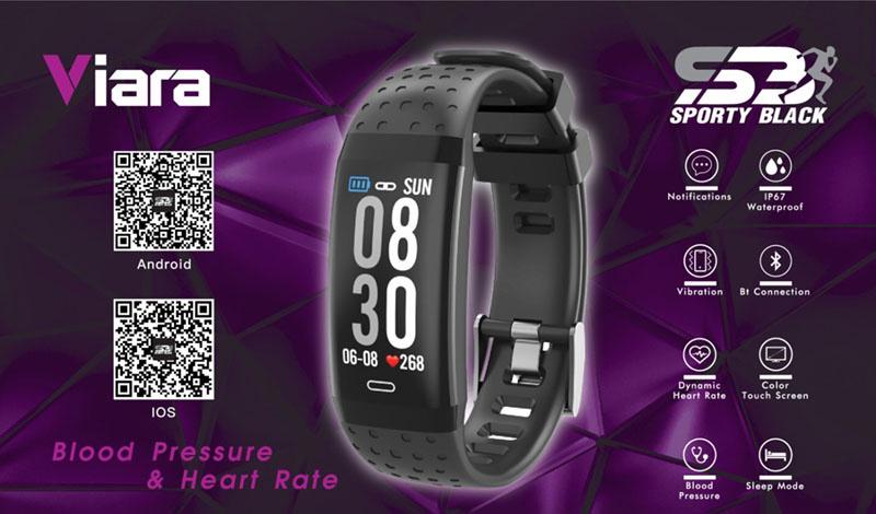 Sporty Black Smartband Viara