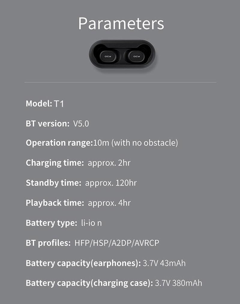 Spec QCY หูฟังบลูทูธแบบ True Wireless รุ่น T1