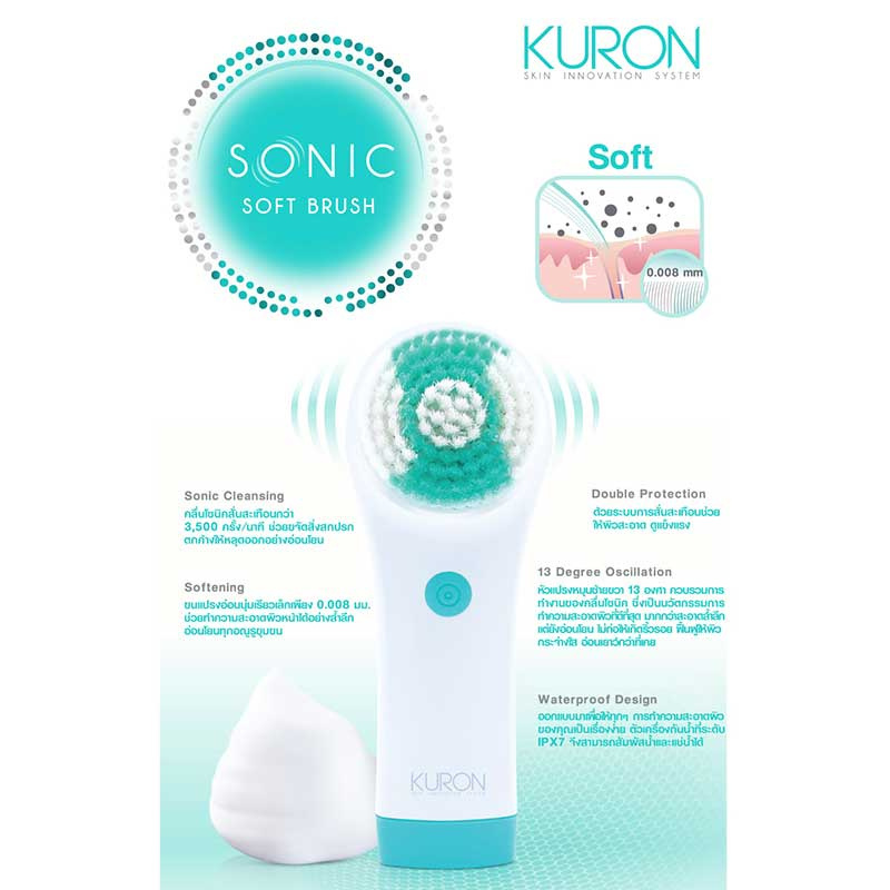 01 KURON SONIC SOFT BRUSH + KURON SONIC SOFT BRUSH HEAD REPLACEMENT