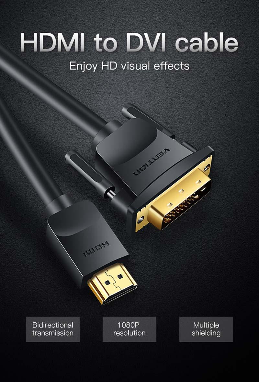 Vention HDMI Male To DVI 24+1 Male 1.5 M.