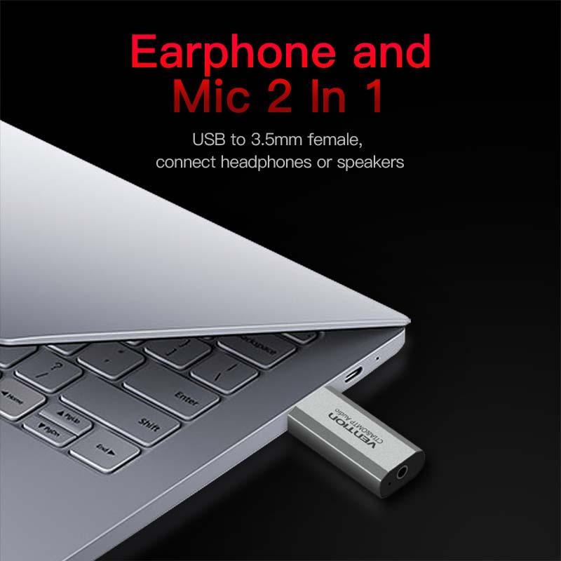 Vention USB External Sound Card Type(Omtp/Ctia) 2.1/7.1(1Jack)