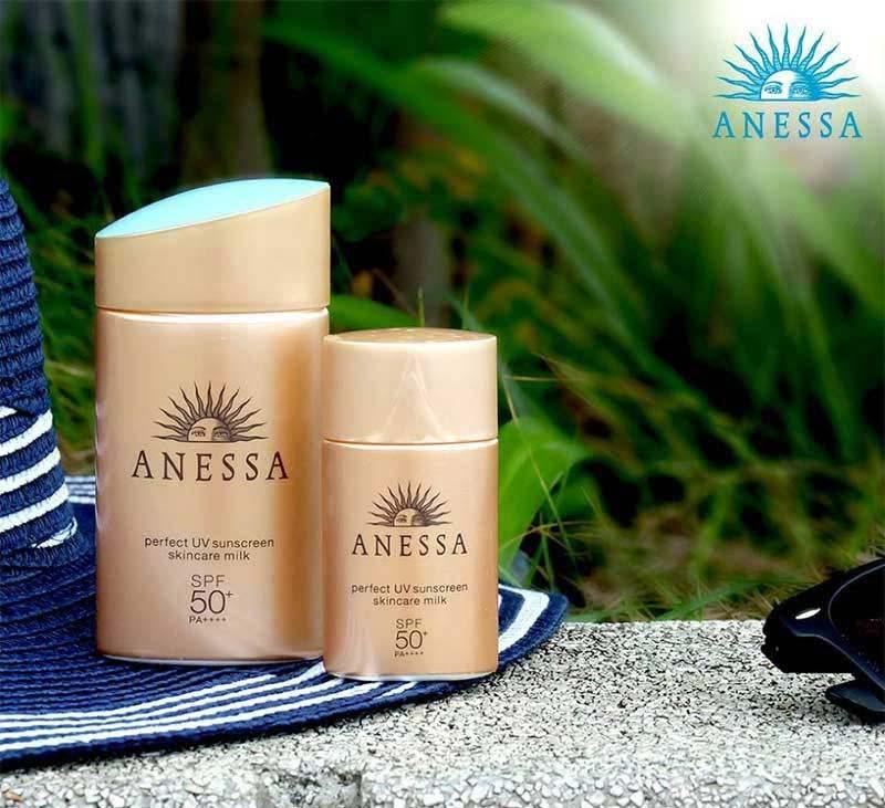 01 Anessa Perfect UV Sunscreen Milk SPF 50+ 20 ml Free Senka Mask 2 sheets