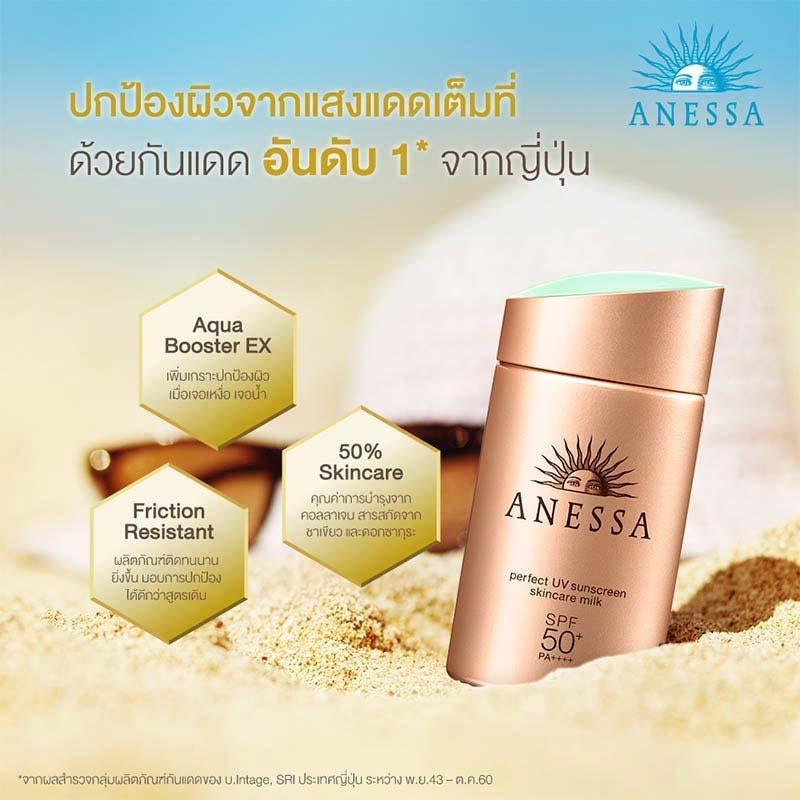 02 Anessa Perfect UV Sunscreen Milk SPF 50+ 20 ml Free Senka Mask 2 sheets