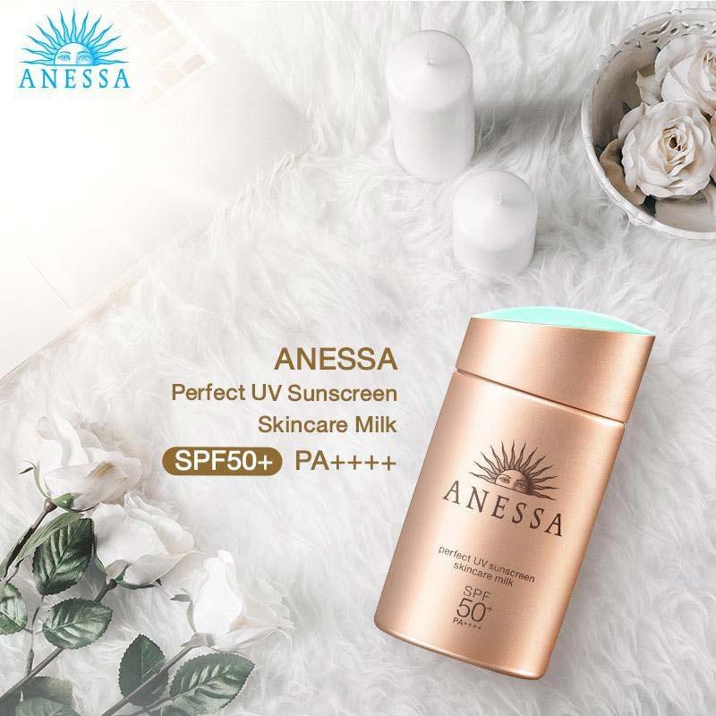 04 Anessa Perfect UV Sunscreen Milk SPF 50+ 20 ml Free Senka Mask 2 sheets