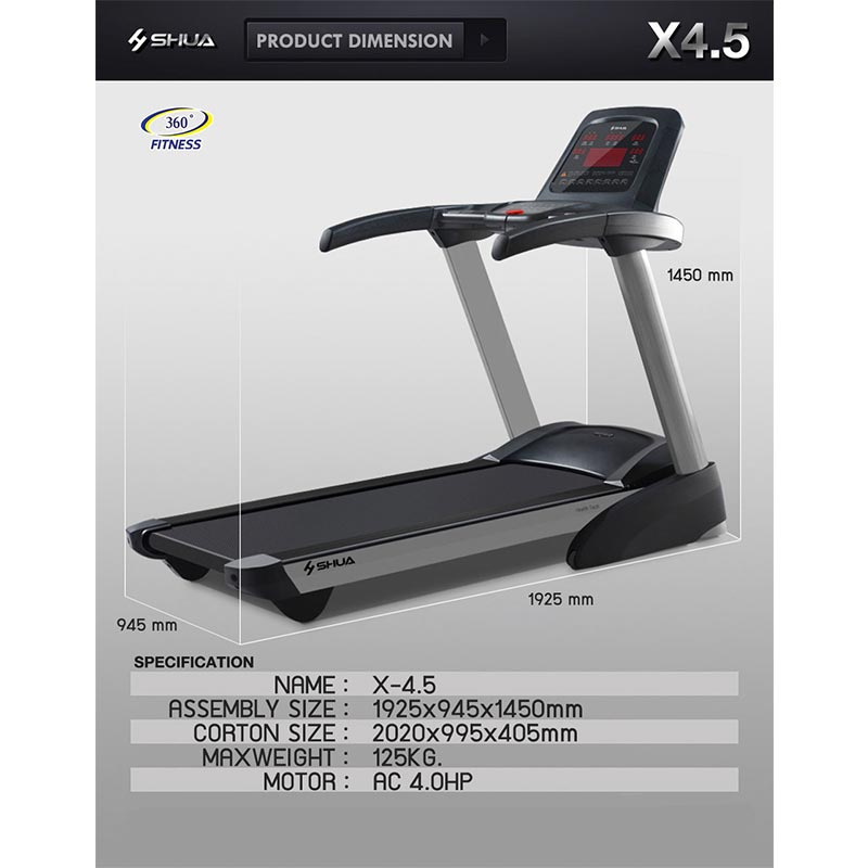 360 Ongsa Fitness ลู่วิ่งไฟฟ้า รุ่น X4.5 - DC 4.0 HP motor (SH-T3300 A3)