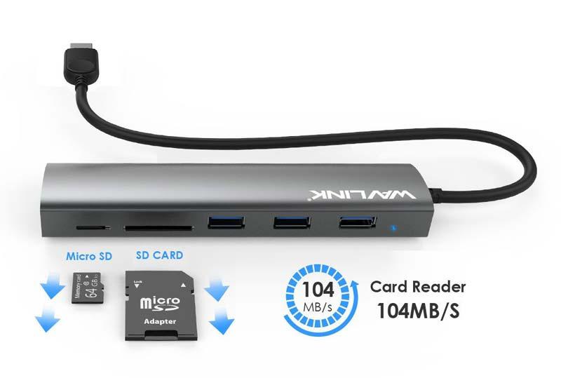 Wavlink รุ่น WL-UH3047R Aluminum USB 3.0 5 Port HUB With Card Reader