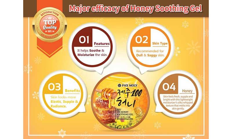 01 Pax moly ชูตติ้งเจล Jeju 100 Honey Soothing Gel 300 กรัม
