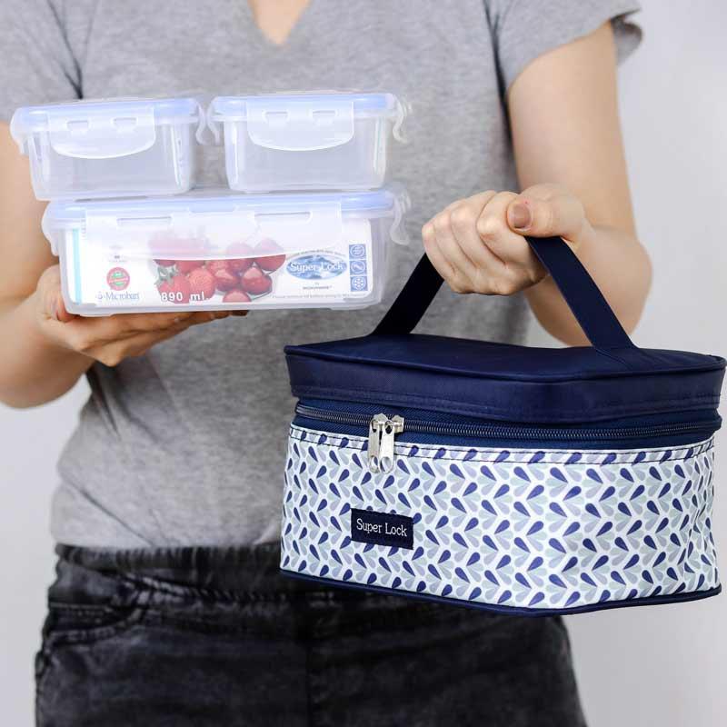 Super Lock กล่องอาหาร+กระเป๋า รุ่น AAA (3 กล่อง)