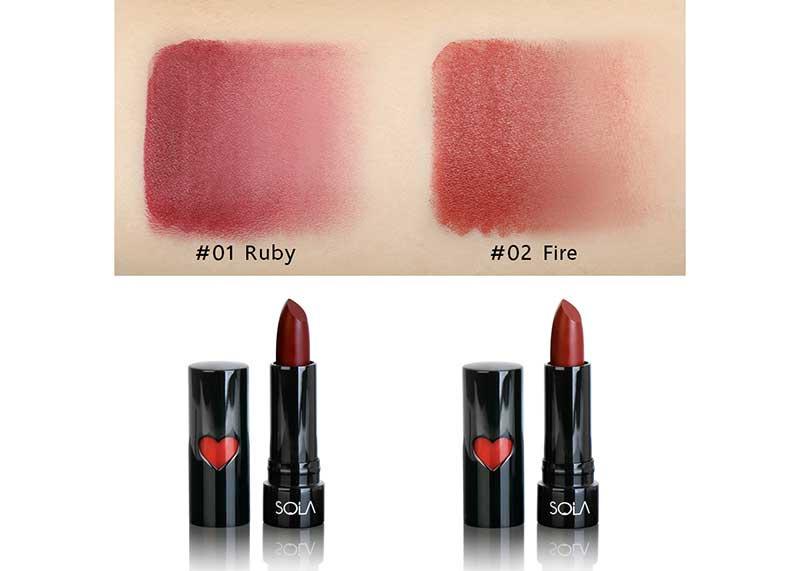 02 Sola ลิปสติก Matte In Stick Lipstick #Fire