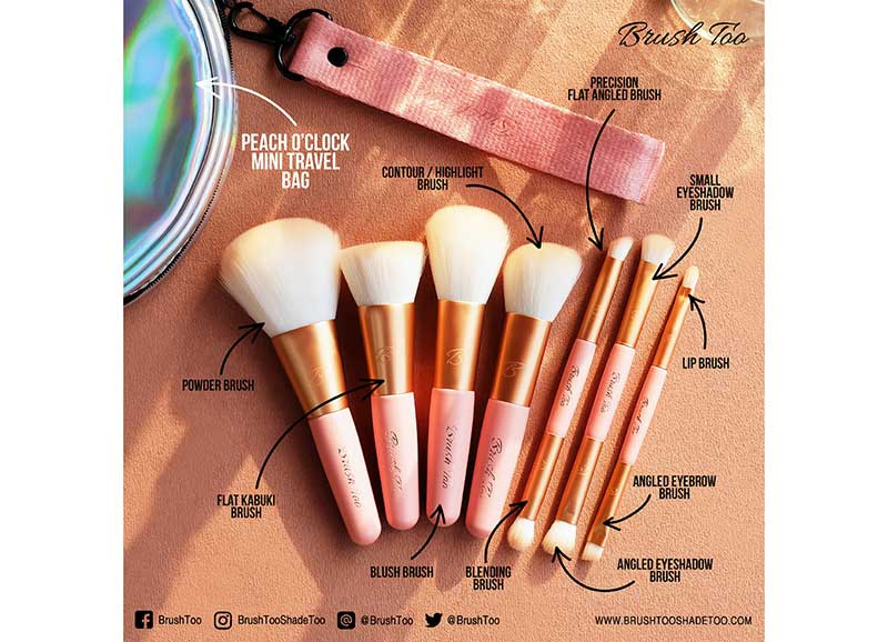 03 BrushToo Peach O'Clock Mini Brush Travel Set 7 pcs