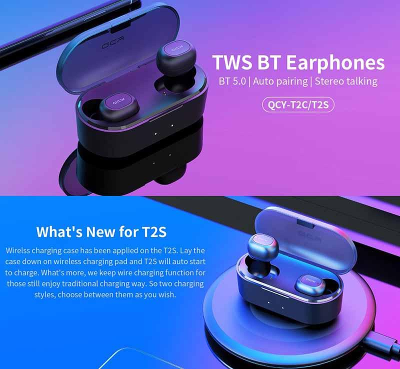 QCY หูฟังบลูทูธแบบ True Wireless รุ่น T2C