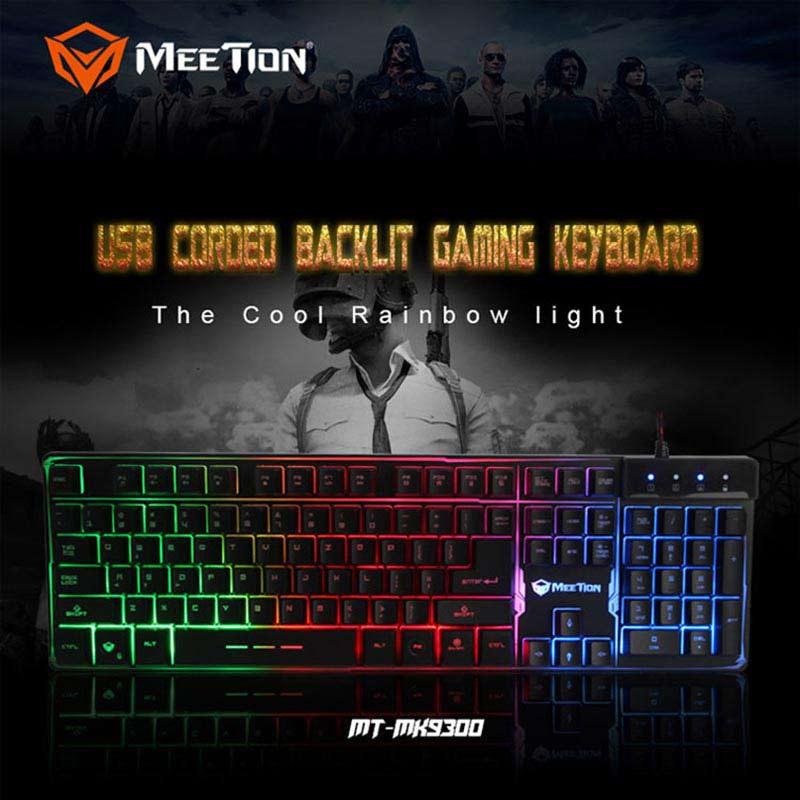 Meetion คีย์บอร์ดเกม Wired Colorful Rainbow Backlit Gaming Keyboard K9300