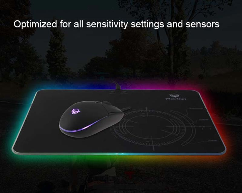 Meetion แผ่นรองเม้าส์เกม Glowing RGB LED Backlit Gaming Mouse Pad P010